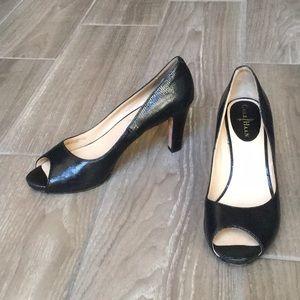 Cole Hann Black Peep-Toe Heels